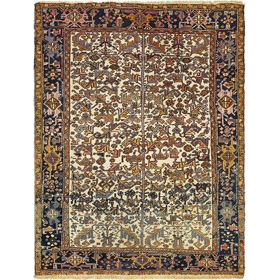 One-of-a-Kind Jaida Traditional Persian Hand Woven Wool Ivory Area Rug