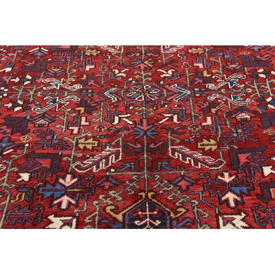 One-of-a-Kind Jaida Persian Hand Woven 100% Wool Red Border Area Rug with Cotton Backing