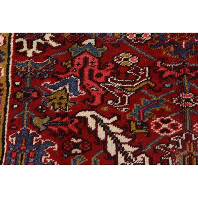 One-of-a-Kind Jaida Traditional Persian Hand Woven 100% Wool Red Border Area Rug