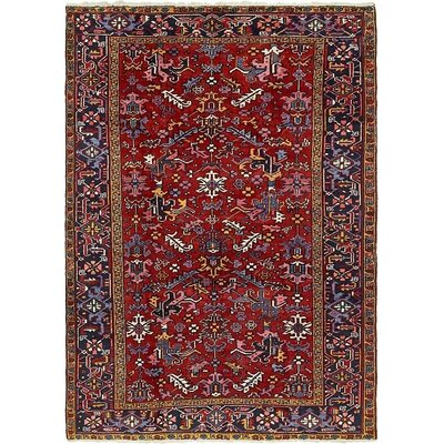 One-of-a-Kind Jaida Persian Hand Woven Dyed Wool Red Border Area Rug with Cotton Backing