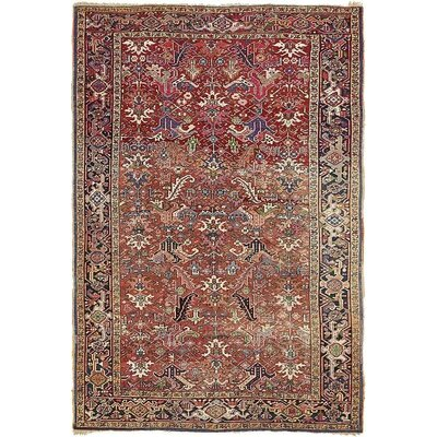 One-of-a-Kind Jaida Persian Hand Woven Dyed Wool Red Floral Border Area Rug