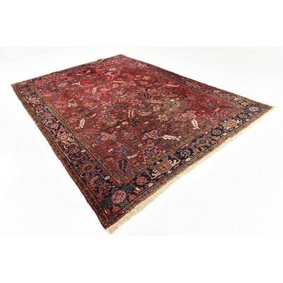 One-of-a-Kind Jaida Persian Hand Woven Dyed Wool Red Border Area Rug with Fringe