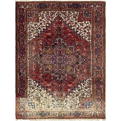 One-of-a-Kind Jaida Traditional Persian Hand Woven Dyed Wool Red Border Area Rug