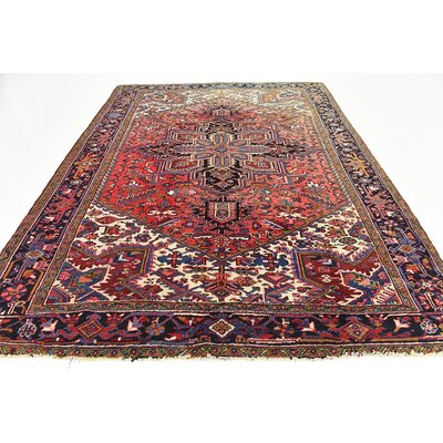 One-of-a-Kind Jaida Persian Hand Woven Dyed Wool Red Oriental Border Area Rug