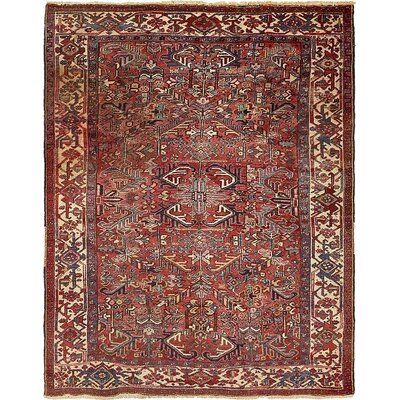 One-of-a-Kind Jaida Persian Hand Woven Wool Rectangle Red Border Area Rug with Fringe