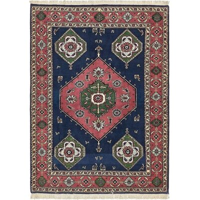 One-of-a-Kind Jaida Persian Hand Woven Wool Navy Blue Area Rug