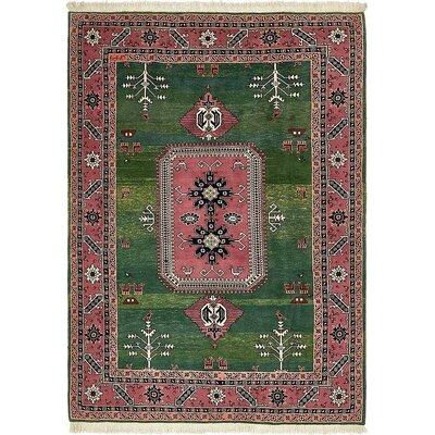 One-of-a-Kind Jaida Traditional Persian Hand Woven 100% Wool Green Area Rug