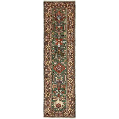 One-of-a-Kind Jaida Persian Runner Hand Woven Wool Green Oriental Area Rug