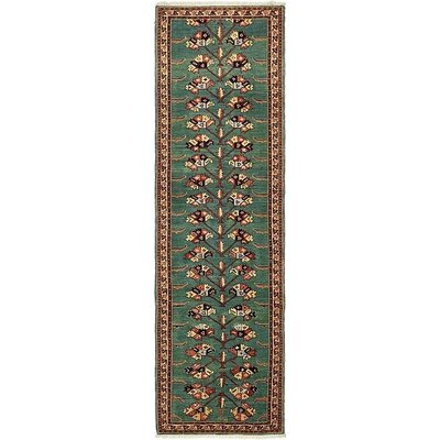 One-of-a-Kind Jaida Persian Runner Hand Woven Wool Green Area Rug