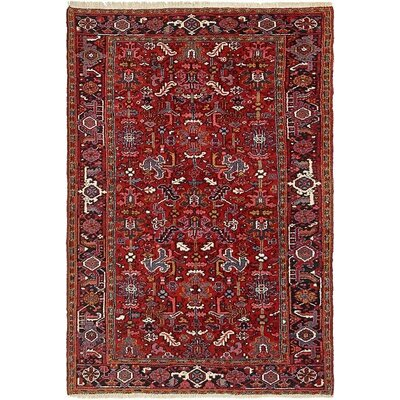 One-of-a-Kind Jaida Traditional Persian Hand Woven Dyed Wool Red Oriental Area Rug with Fringe