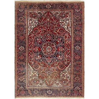 One-of-a-Kind Jaida Persian Hand Woven Dyed Wool Red Oriental Area Rug with Cotton Backing