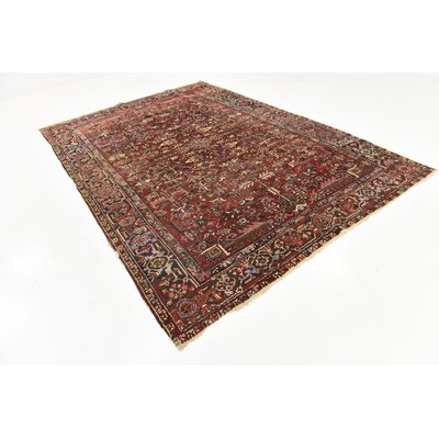 One-of-a-Kind Jaida Persian Hand Woven Wool Rectangle Red Oriental Area Rug with Fringe