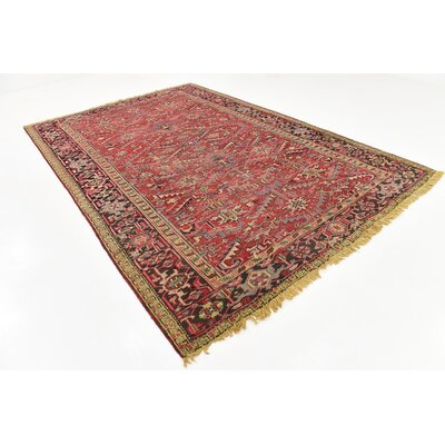 One-of-a-Kind Jaida Persian Hand Woven Wool Red Oriental Border Area Rug with Fringe
