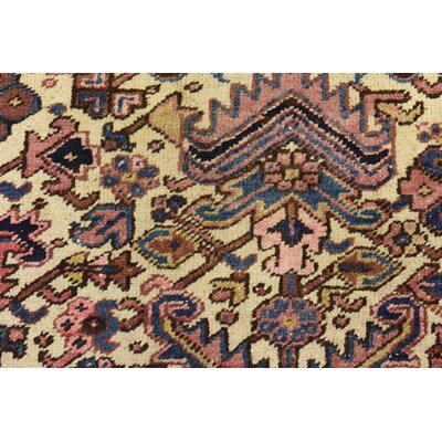 One-of-a-Kind Jaida Persian Hand Woven Wool Ivory Area Rug with Cotton Backing