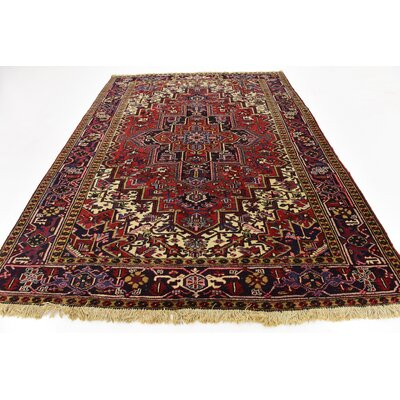 One-of-a-Kind Jaida Persian Hand Woven Wool Red/Beige Floral Area Rug