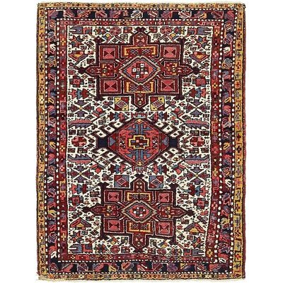 One-of-a-Kind Jaida Persian Hand Knotted Dyed Wool Red/Yellow Area Rug