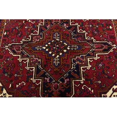 One-of-a-Kind Jaida Persian Hand Woven Dyed Wool Rectangle Red Floral Area Rug