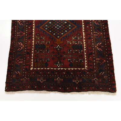 One-of-a-Kind Jaida Traditional Persian Hand Woven 100% Dyed Wool Red Border Area Rug