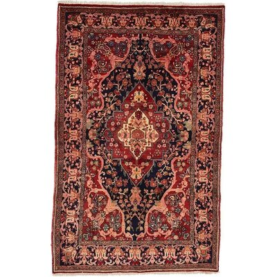One-of-a-Kind Jaida Persian Hand Woven 100% Wool Rectangle Navy Blue Area Rug