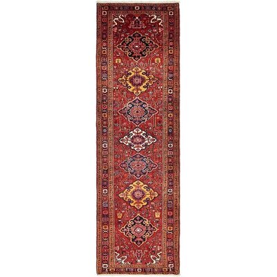 One-of-a-Kind Jaida Persian Hand Woven Dyed Wool Rectangle Red Border Area Rug with Cotton Backing