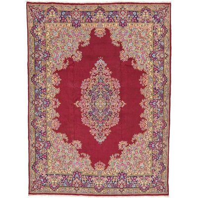 One-of-a-Kind Wisner Traditional Persian Hand Woven Wool Rectangle Red Oriental Area Rug with Fringe