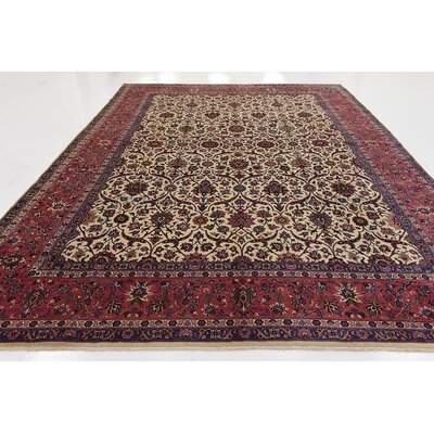 One-of-a-Kind Wisner Traditional Persian Hand Woven Wool Cream Area Rug