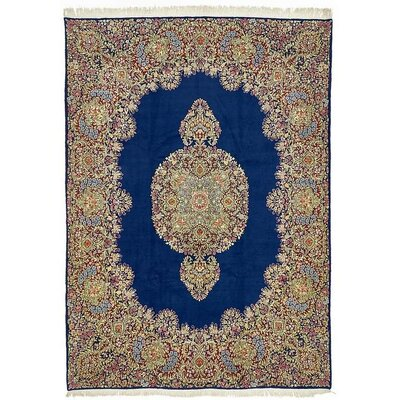 One-of-a-Kind Wisner Persian Hand Woven 100% Wool Navy Blue Area Rug