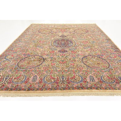 One-of-a-Kind Wisner Traditional Persian Hand Woven Wool Cream Oriental Area Rug