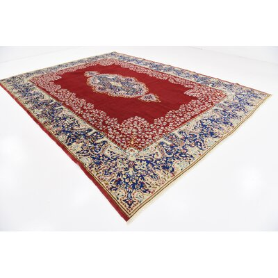 One-of-a-Kind Bellflower Traditional Persian Hand Woven Wool Red Oriental Border Area Rug