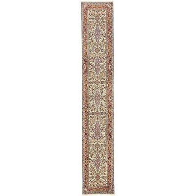 One-of-a-Kind Branca Persian Runner Hand Woven Wool Cream Area Rug