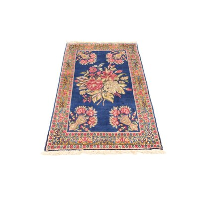 One-of-a-Kind Wisner Traditional Persian Hand Woven Wool Blue Area Rug