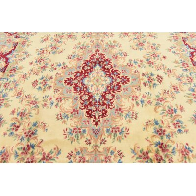 One-of-a-Kind Bellflower Persian Hand Woven Wool Cream Area Rug