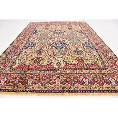 One-of-a-Kind Bellflower Traditional Persian Hand Woven Wool Red Area Rug with Fringe