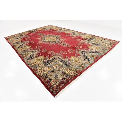 One-of-a-Kind Wisner Traditional Persian Hand Woven 100% Wool Rectangle Red Oriental Area Rug