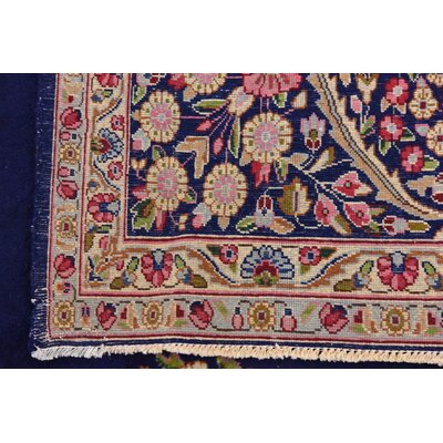 One-of-a-Kind Bellflower Traditional Persian Hand Woven Wool Navy Blue Area Rug
