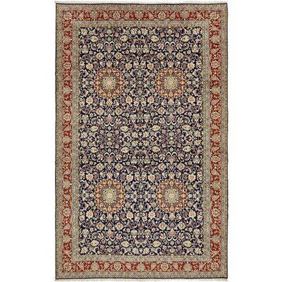 One-of-a-Kind Wisner Persian Hand Woven Wool Navy Blue Oriental Area Rug