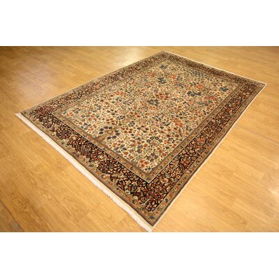 One-of-a-Kind Wisner Persian Hand Woven Wool Rectangle Ivory Area Rug Size: 102 L x 70 W