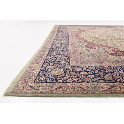 One-of-a-Kind Branca Persian Hand Woven Wool Light Green Area Rug
