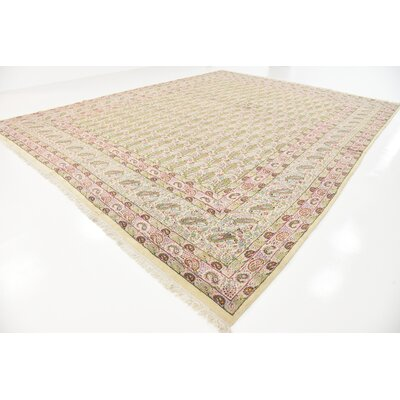 One-of-a-Kind Branca Traditional Persian Hand Woven Wool Beige Area Rug