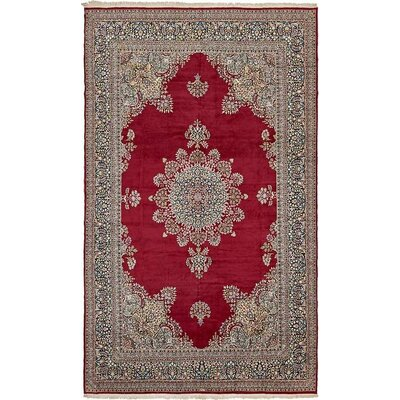 One-of-a-Kind Bellflower Persian Hand Woven Wool Red Floral Area Rug with Fringe