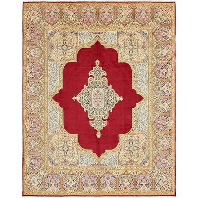 One-of-a-Kind Bellflower Persian Hand Woven Wool Rectangle Red Floral Area Rug