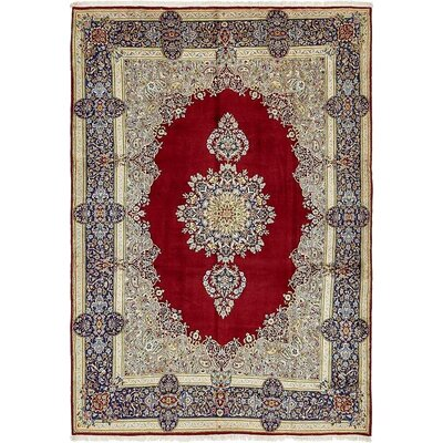 One-of-a-Kind Bellflower Persian Hand Woven Wool Red Border Area Rug with Fringe