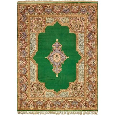 One-of-a-Kind Wisner Persian Hand Woven Wool Green Area Rug