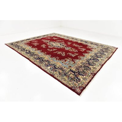 One-of-a-Kind Bellflower Persian Hand Woven Wool Red Oriental Floral Area Rug