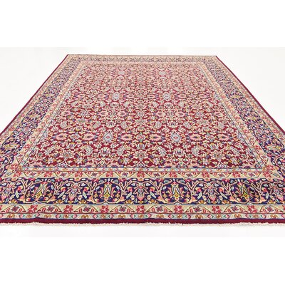 One-of-a-Kind Bellflower Persian Hand Woven Wool Red Oriental Border Area Rug with Fringe