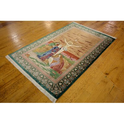 One-of-a-Kind Bellingdon Persian Hand Woven Silk Peach Area Rug
