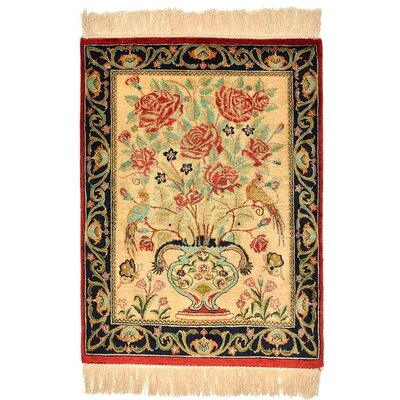 One of a Kind Qom Persian Hand Woven Silk Beige Area Rug