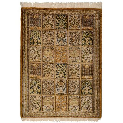 One of a Kind Qom Persian Hand Woven Silk Tan Area Rug