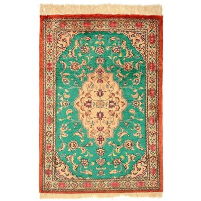 One-of-a-Kind Wollano Persian Hand Woven Silk Green Area Rug
