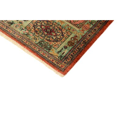 One of a Kind Qom Persian Hand Woven Silk Light Green Area Rug